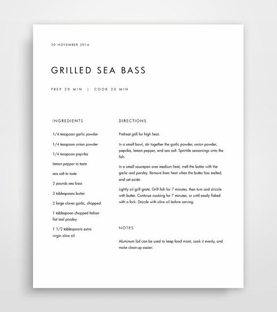 cookbook page template