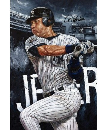 "Baseball Player Derek Jeter ""New School""  ORIGINAL Oil Painting - 1/1 With Authentic Autograph. Size: 30"" x 45"" ~Done By Artist Justyn Farano~"