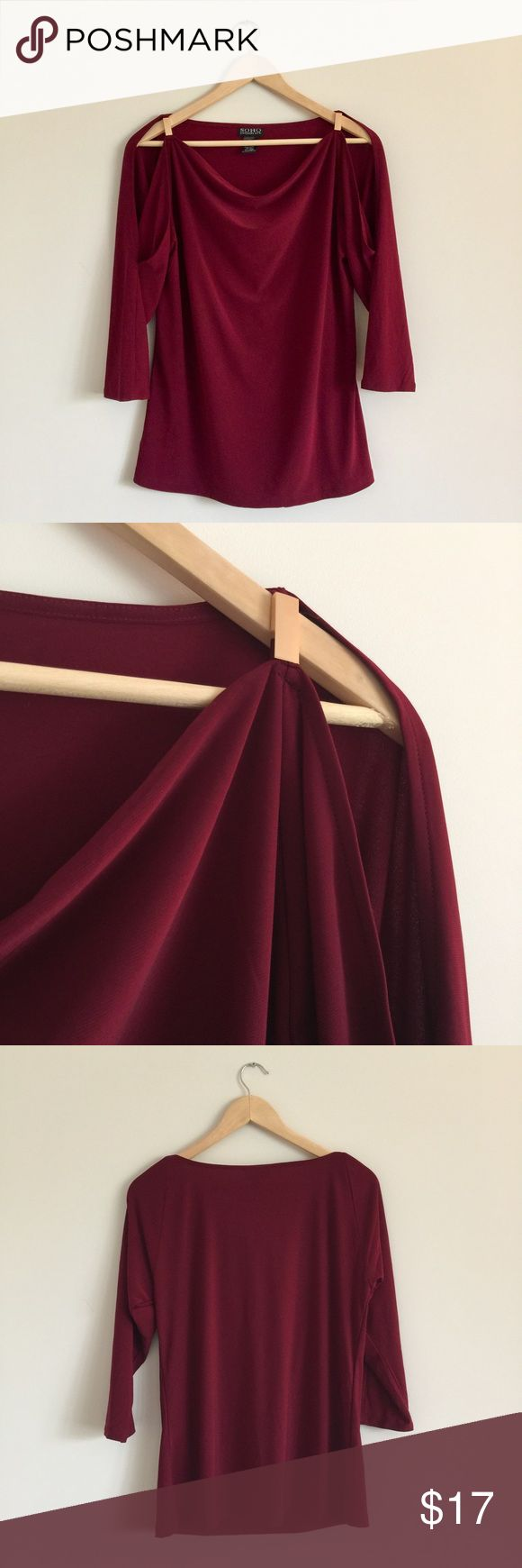 Cold shoulder long sleeve cowl neck top Burgundy red, long sleeve top with cold shoulder cut outs. Rose gold bar detail at shoulder. Size M. Excellent condition worn once Tops