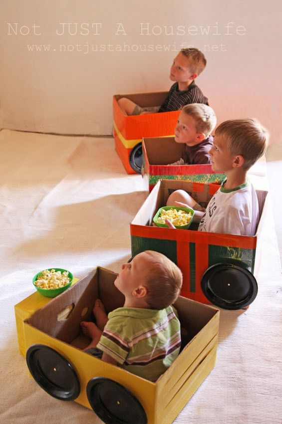 Cardboard Box Cars...OMG, my toddler loved this. I have the cutest pics of him in the box car. He was so excitedwhen I was making it. --MSoto