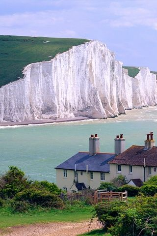 Coastguard Cottages and The Seven Sisters, East Sussex, England