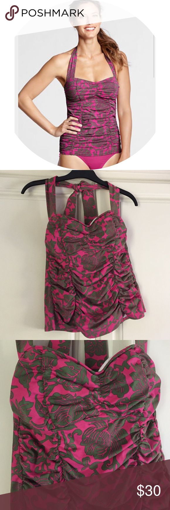 LANDS END Bardot Tankini Top LANDS END Bardot Halter Tankini Top. Size 6P. Pink with a green flower pattern. Sown in soft cups. Halter strap is a tie so it's adjustable. Gathers on the side and the middle are very minimizing. Only worn a few times! Lands' End Swim