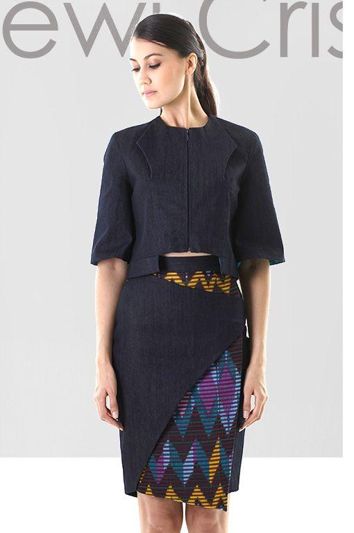 Dewi Cristina Lee RTW 2014. Structured dark denim jacket and layered denim Indonesian handmade tenun pencil skirt.