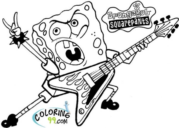 Printable Spongebob Squarepants Becoming A Rockstar Coloring Page