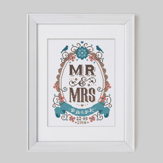 Mr & Mrs  Customisable Wedding Cross Stitch Pattern by Stitchrovia, £7.50  different colors obvi