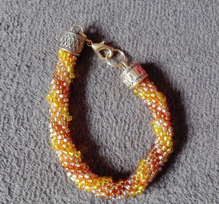 Gold Honey Bracelet,  Yellow, Gold, Beaded Rope Barcelet, Bead Crochet Bracelet, Glamour, Sparkle&Shine by IMAGINARIUM2015 on Etsy