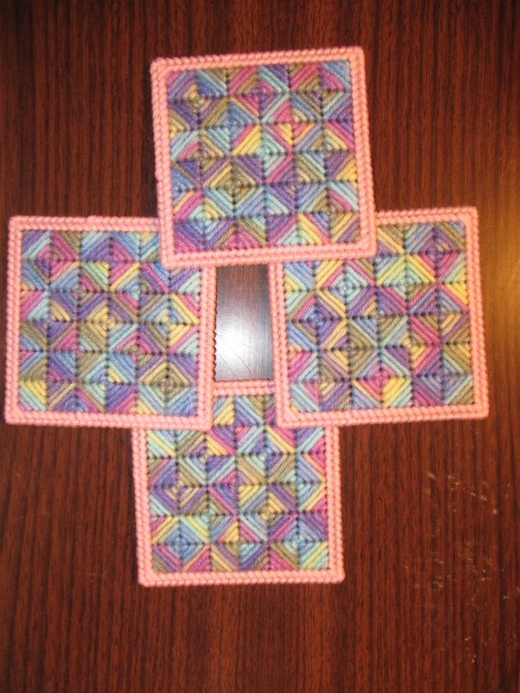 Plastic Canvas Coasters by GiftsbyKris on Etsy