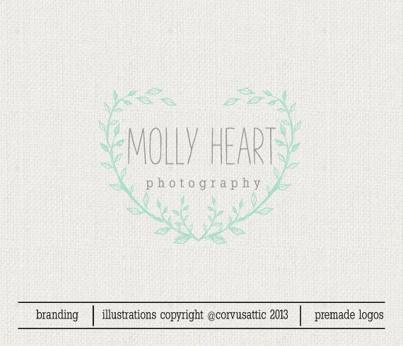 Premade Logo - Wreath Logo Woodland Logo Heart Logo  Ready Made Logo Hand Drawn Logo Illustrated Logo by CorvusAttic on Etsy https://www.etsy.com/listing/170663107/premade-logo-wreath-logo-woodland-logo