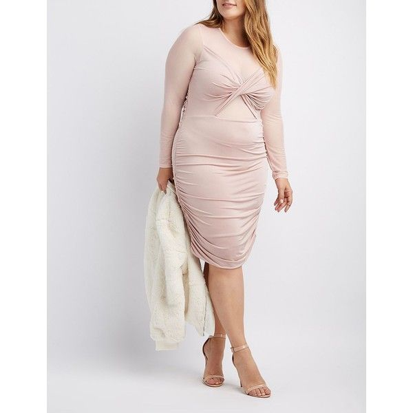 Charlotte Russe Plus Mesh-Trim Ruched Bodycon Dress ($37) ❤ liked on Polyvore featuring plus size women's fashion, plus size clothing, plus size dresses, blush, sheer dress, long bodycon dress, long sheer dress, sheer bodycon dress and ruched bodycon dress