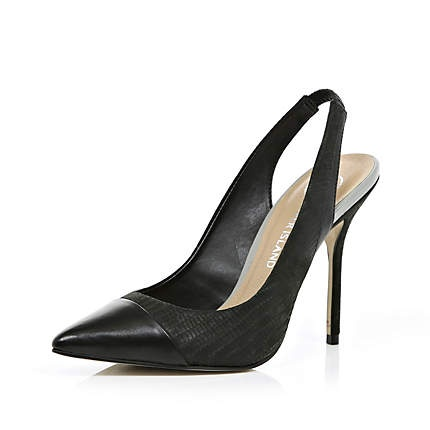 black pointed slingback shoes - heels - shoes / boots - women - River Island