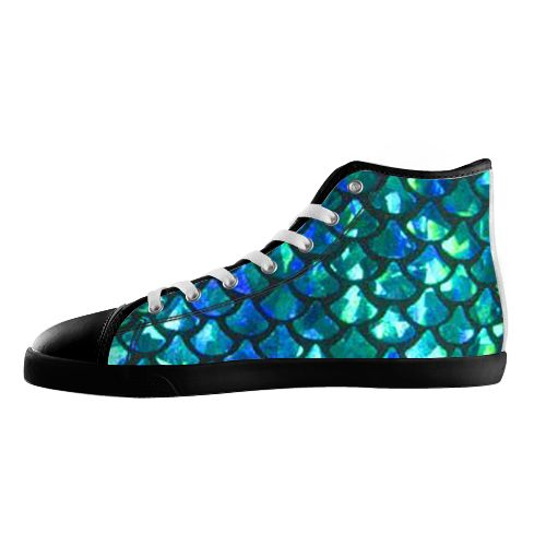 Mermaid Scales Shoes - Available Here: http://www.customdropshipping.com/personalized-design/personalized/mermaid-scales-black-high-top-canvas-shoes-model002-women-47256