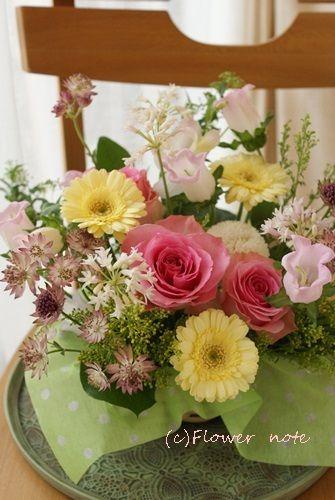 【今日の贈花】お誕生日のサプライズなお祝花|Flower note の 花日記 (横浜・上大岡 アレンジメント教室)