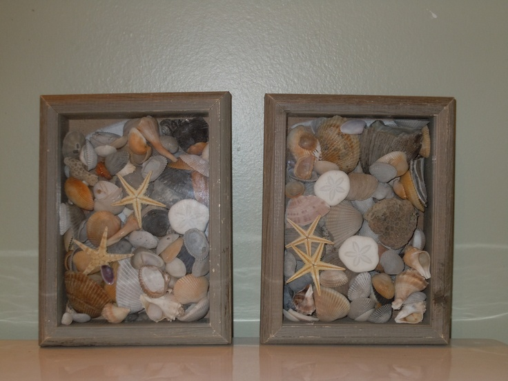Memories from the beach! Shells in shadow boxes!