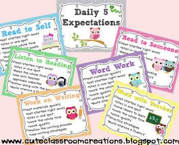 Expectativas diarias 5 Posters & Elección de rotación Tarjetas FREEBIE {}