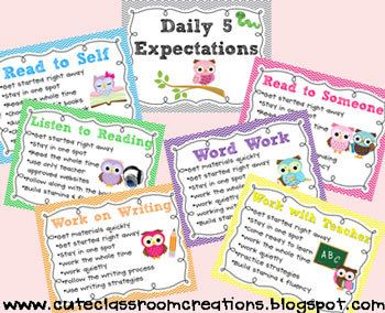 Daily 5 Expectations Posters and Rotation Cards - Owl Theme
