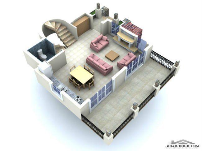 تصميم فيلا 3 طوابق مساحه الطابق 50 متر مربع Home