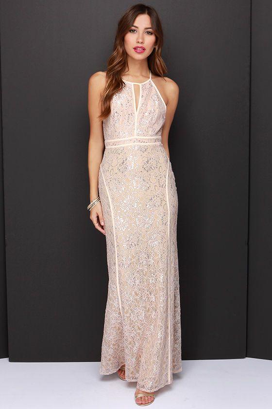 LULUS Exclusive Dazzle Me Pale Blush Lace Maxi Dress at Lulus.com!