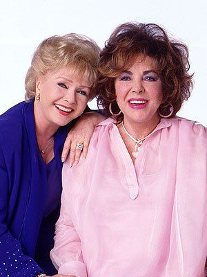 Debbie Reynolds (L) and Elizabeth Taylor portrait for their film These Old Broads, written by Carrie Fisher (circa 2000)