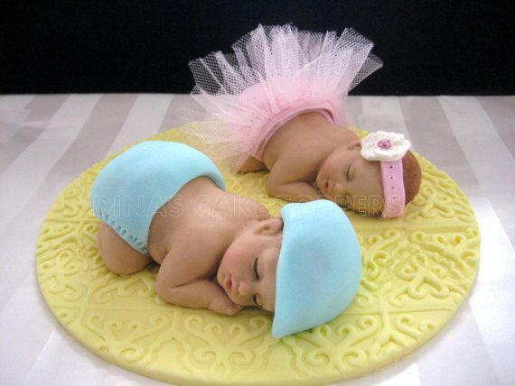 Twins+Tutu+Girl+Boy+Ballerina+Cake+Topper+by+DinasCakeToppers,+$60.00