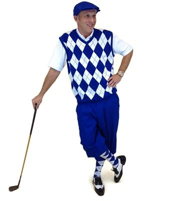 Royal Blue Golf Knickers and matching Cap make a Men's Complete Outfit when worn with the Royal Blue/White/Black Argyle Sweater Vest and Socks.