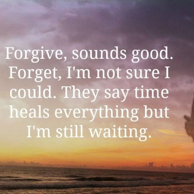 Forgive, sounds good. Forget? I`m not sure I could. They say time heals everything but I`m still waiting. - Dixie Chicks, Not Ready To Make Nice