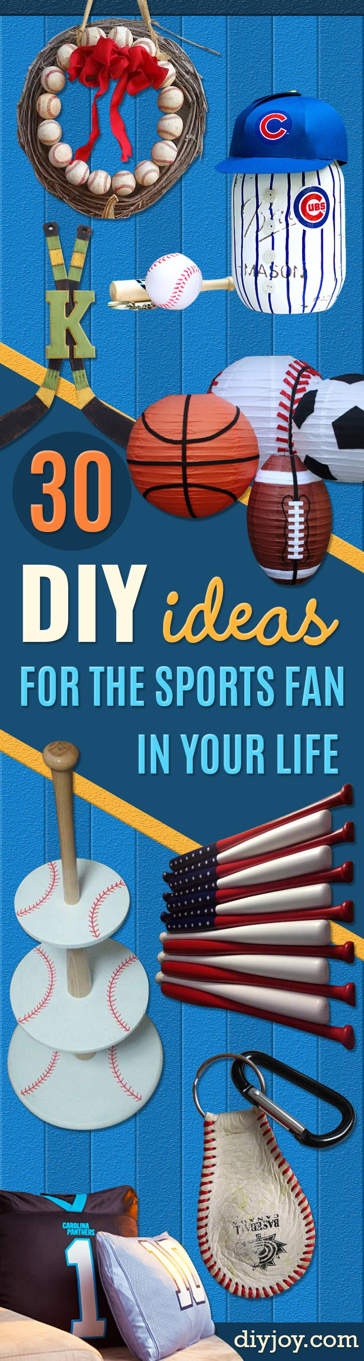 DIY Projects for the Sports Fan - Crafts and DIY Ideas for Men - Football, Baseball, Basketball, Soccer and Golf - Wall Art, DIY Gifts, Easy Gift Ideas, Room and Home Decor http://diyjoy.com/diy-ideas-sports-fan
