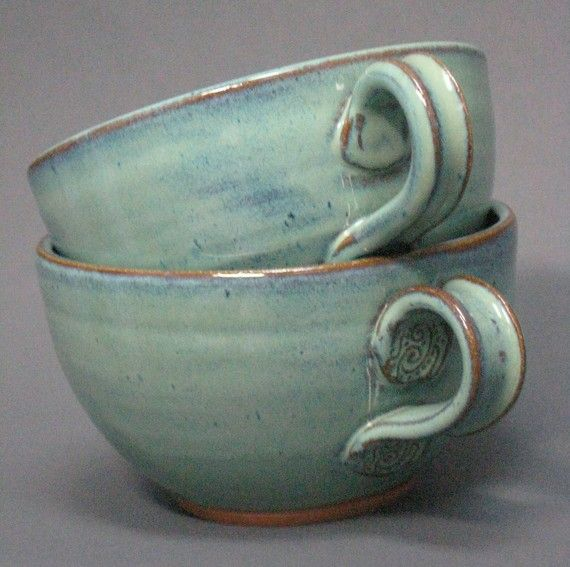 Soup and Cereal Bowls Set of 2 Handmade Pottery Country Style Handled in Green                                                                                                                                                                                 More