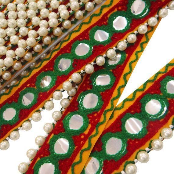 "Multicolor Handmade Fringe Trim Designer Floral Embroidered Ribbon Craft Supply 2.2"" Wide Indian Sari Ribbon Trim By The Yard FRT307B"