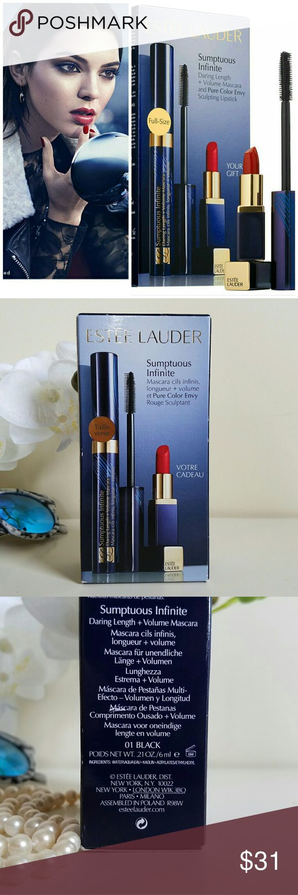 Estee Lauder Mascara and Lipstick duo set Sumptuous Infinite Daring Length + Volume Mascara and Pure Color Envy Sculpting Lipstick. A duo with a full-size mascara and a deluxe-size, free gift of Pure Color Envy Lipstick. Get this lip and eye duo for long, lush, limitless lashes and sculpted lips. This set contains:  0.21 oz Sumptuous Infinite Daring Length + Volume Mascara in 01 Black  0.04 oz Pure Color Envy Sculpting Lipstick in 04 Envious   What it is formulated WITHOUT: Parabens…