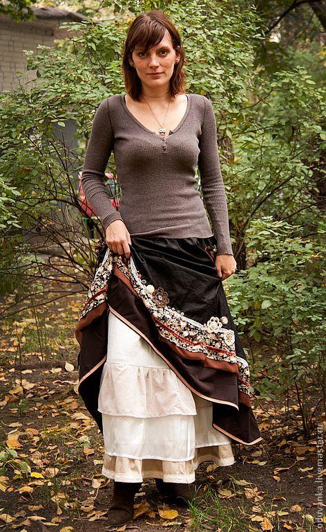 Длинная юбка Цветы осени
