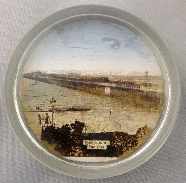 Vtg Antique Souvenir Pictorial Glass Paperweight Ryde Isle of Wight Pier