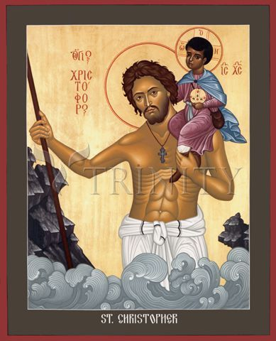 "St. Christopher | Catholic Christian Religious Art - Icon by Br. Robert Lentz, OFM - From your Trinity Stores crew, ""St. Christopher please pray for us!"""