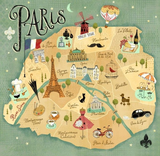 Richard Faust - Paris Destinations Map Artwork
