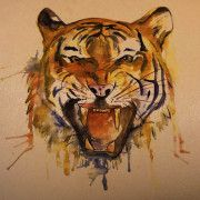 tiger watercolor on dark skin | tattoo stencil - temporary tattoo