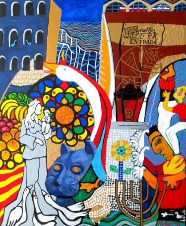 "Saatchi Art Artist Karlijn Surminski; Collage, ""Ciutat Vella"" #art"