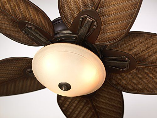 The Callito Cove by Emerson is a 52-inch indoor-outdoor ceiling fan with a warm, multi-tone Distressed Bronze housing finish This versatile outdoor fan is Wet Location Rated, making it the perfect choice for hanging in your favorite outdoor living areas, regardless of exposure to the elements Featuring a classic tropical ceiling fan design for a laid back style, the Callito Cove comes equipped with weather-resistant palm leaf blades in Medium Antique Brown finish