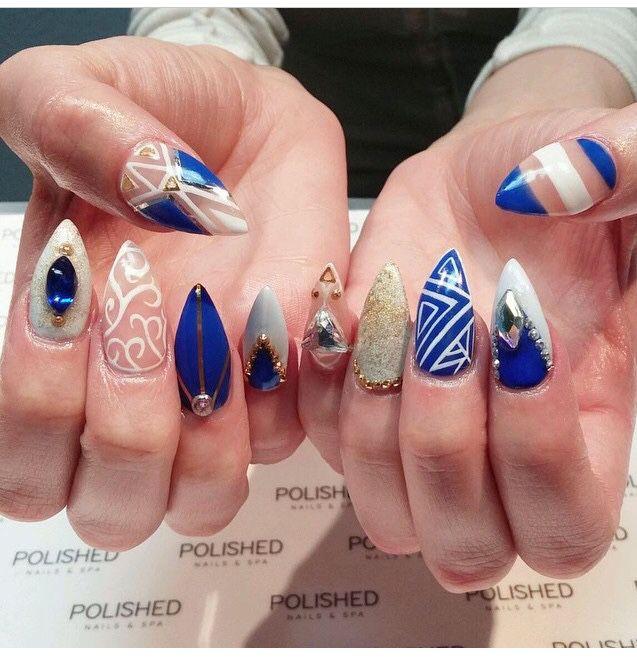 blue white and gold stiletto nails nails pinterest