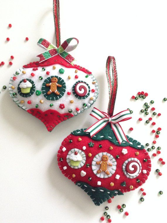 Gingerbread Felt Ornaments Christmas Tree Ornaments Xmas With