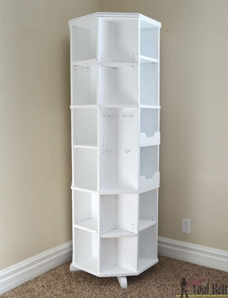 With the kids heading back to school and getting new books and supplies, an octagon rotating bookshelf is a perfect space saving storage solution. Tuck the bookshelf in the corner of the room and have plenty of stylish storage for books and knick knacks. The bookshelf easily spins around and around, revealing additional shelves. Free Plans