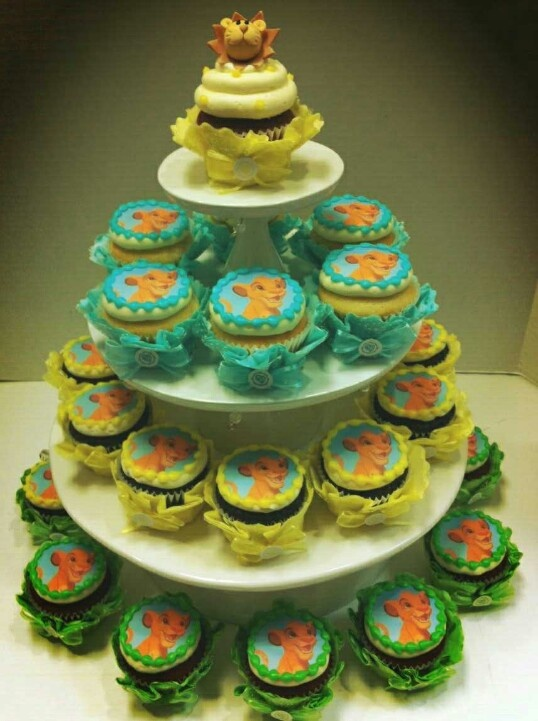 Adorable Lion King Cupcake Tower For A Baby Shower.