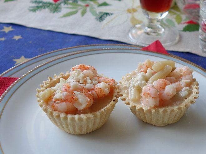 Tarteletter med fisk og skaldyr