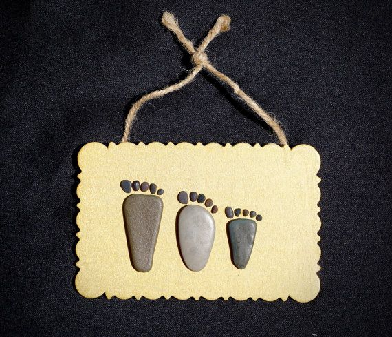Little footprint. MomDadBaby-family Feet pebble/stone by IrART