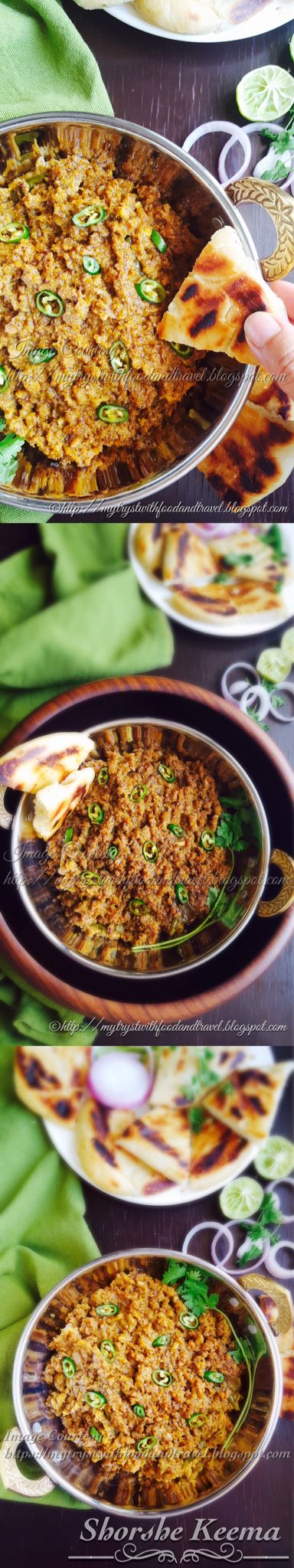 Shorshe Keema / Mutton ( Goat ) Mince in thick mustard sauce ~  Recipe link --> http://mytrystwithfoodandtravel.blogspot.ae/2016/07/shorshe-keema-recipe-mutton-goat-mince.html  Dear Friends, sharing with you an absolutely nouvelle, totally unique, a dish which I would love to serve during Eid. In other words this is a very festive dish and true blue Bengali dish. Shorshe Keema which is basically Mutton or Goat mince cooked in a mustard and coconut sauce, simmered till all the liquid…