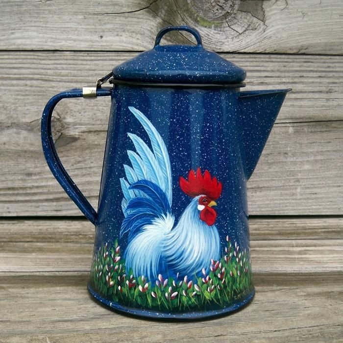 VTG BLUE Splatterware Enamel COFFEE POT Hand Painted ROOSTER Art Trish McMurry #HandPaintedRoosterArt