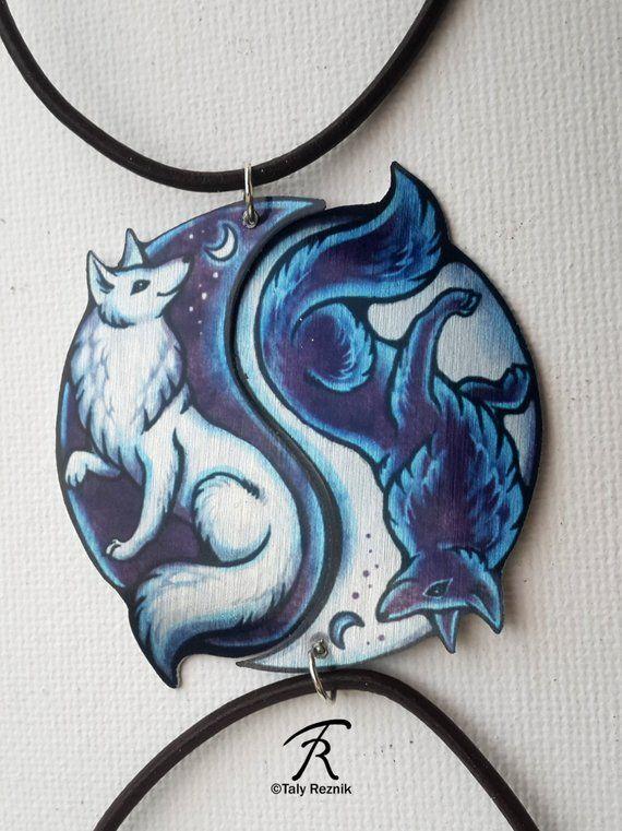 Schwarz weiß Yin Yang Fox Vulpine spirituelle Dualität paar Bond Freundschaft romantische paar Valentine Metall Halskette Anhänger