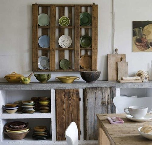 Recycled palette shelf becomes Moroccan with the addition of moroccan pottery!