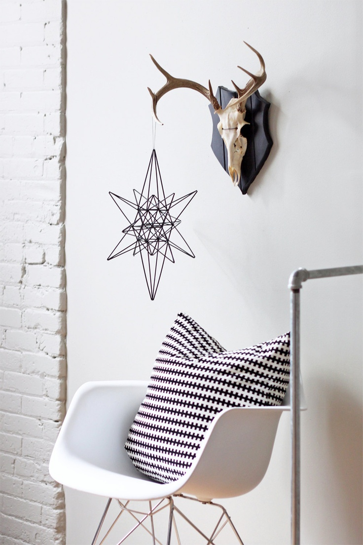 moravian star style himmeli / hanging mobile / modern geometric sculpture, via Etsy.