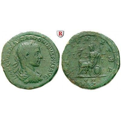 Römische Kaiserzeit, Elagabal, Sesterz 218, ss: Elagabal 218-222. Messing-Sesterz 32 mm 218 Rom. Drapierte und gepanzerte Büste r.… #coins