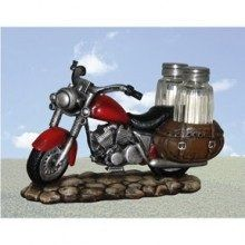 Vintage Red Motorcycle Salt & Pepper Shaker Set by DWK. $20.99. Bright red motorcycle. Unique for a Kitchen. Glass Shakers. Great Gift. Motorcycle Salt and Pepper Shaker Holder