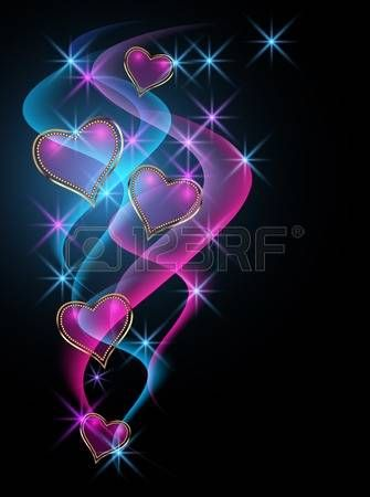 Decorative shiny hearts and stars photo